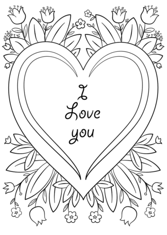 """valentine's day card """"i love you"""" coloring page  free printable coloring pages"""