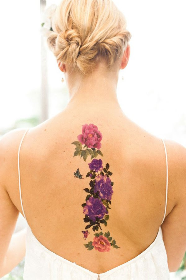 Multicolored Rose Floral Tattoo On Back