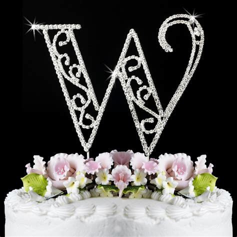 ROMAN Crystal Monogram Initial Wedding Cake Topper   eBay