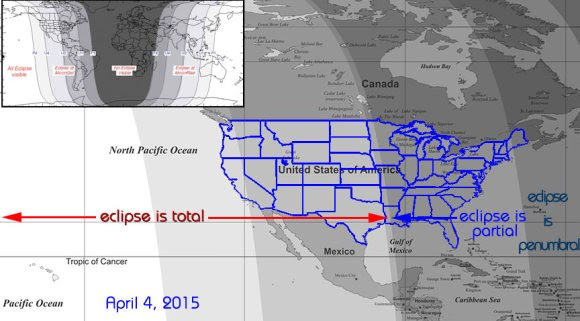 Map showing where the April 4 lunar eclipse will be penumbral, partial and total. Inset shows a world map. Credit: Larry Koehn / shadowandsubstance.com
