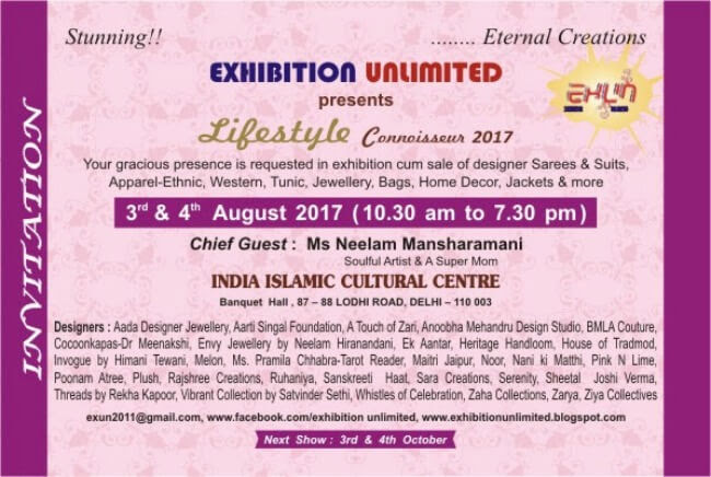 Exhibition Unlimited Stunning Eternal Creations Lifestyle Connoisseur 2017 India Islamic Cultural Centre Creative
