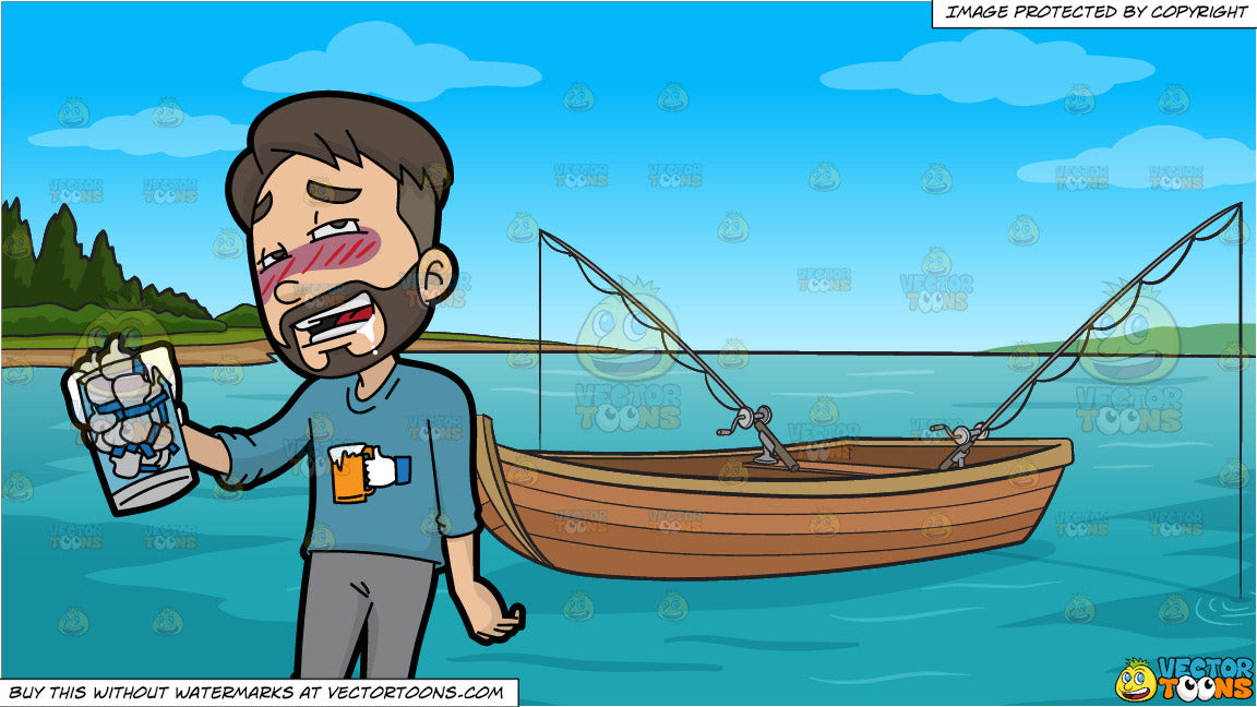 Download A Man Drunk On Facebook Likes And Fishing Boat On The Lake Background Clipart Cartoons By Vectortoons