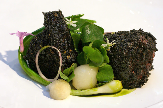 Wagyu Beef Cheek and Alliums, Asian Pear and Wood Sorrel