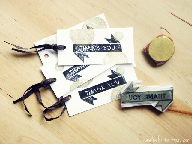 New Thank You tags. Hand carved stamps.