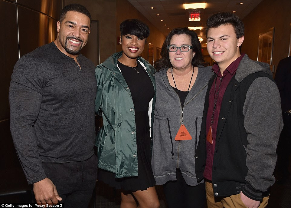 Eclectic crowd: Rosie O'Donnell was one of the more surprising guests at the show. She is seen posing with her son Blake (far right), wrestler David Otunga and singer and actress Jennifer Hudson