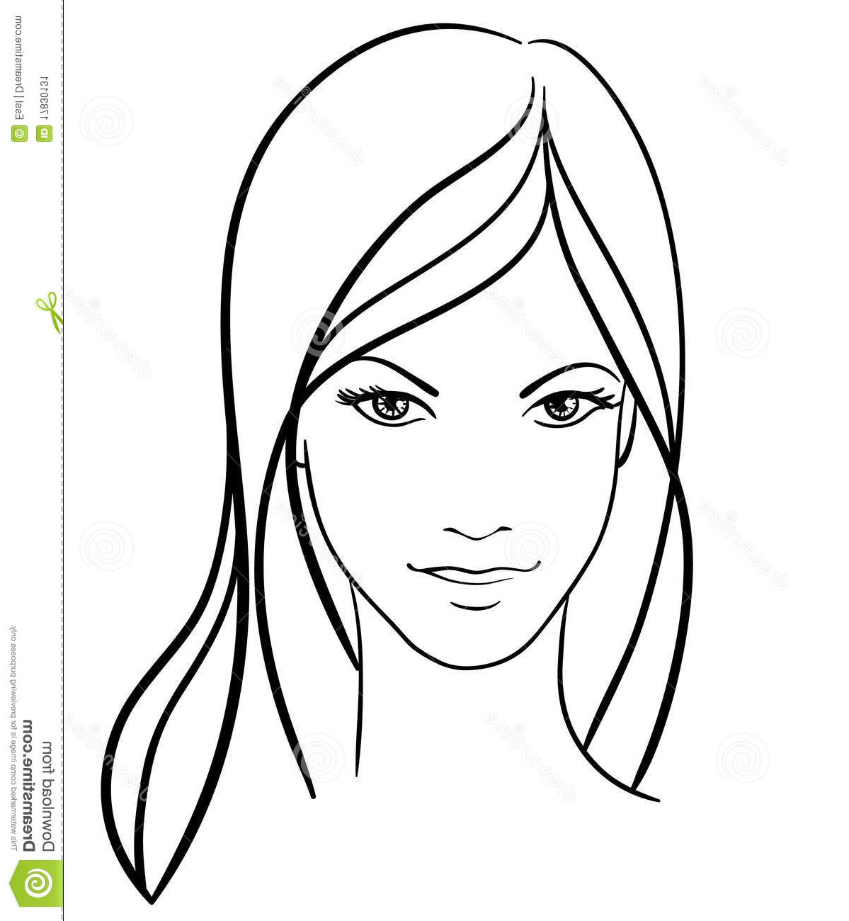 1199x1300 Simple Girl Face Drawing
