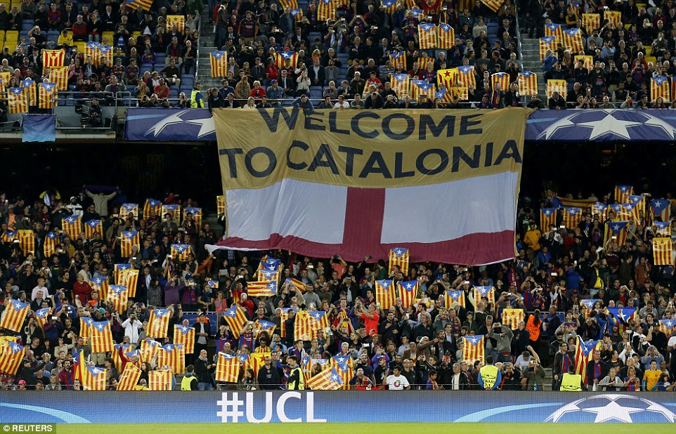Before the match Barcelona fans unfurled several separatist Catalan flags in defiance of UEFA's ban on political symbols.