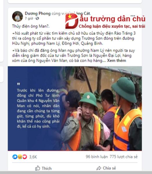Những kẻ 'bất nhân' khi loan tin vu khống 'thủy điện Rào Trăng 3 có liên quan đến Tướng Man'