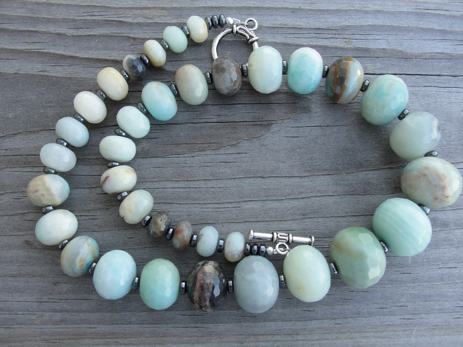 Graduated Faceted Amazonite Chunky Necklace