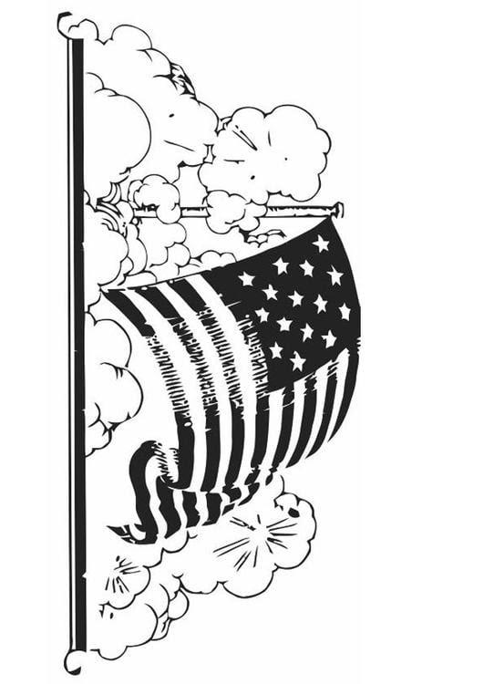 kleurplaat vlag amerika