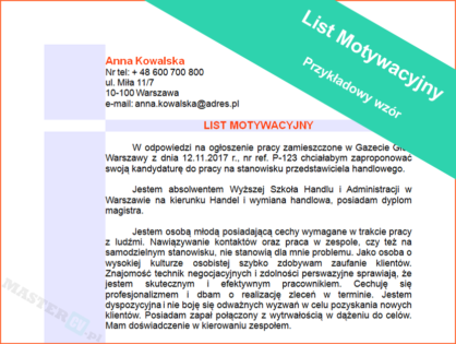 Wzór Listu Motywacyjnego Laborant Mastercvpl