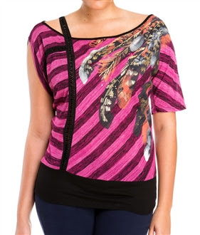 Plus Size Designer Print Off Shoulder Top Pink