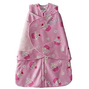 HALO SleepSack Micro-Fleece Swaddle, Pink Cupcake, Newborn