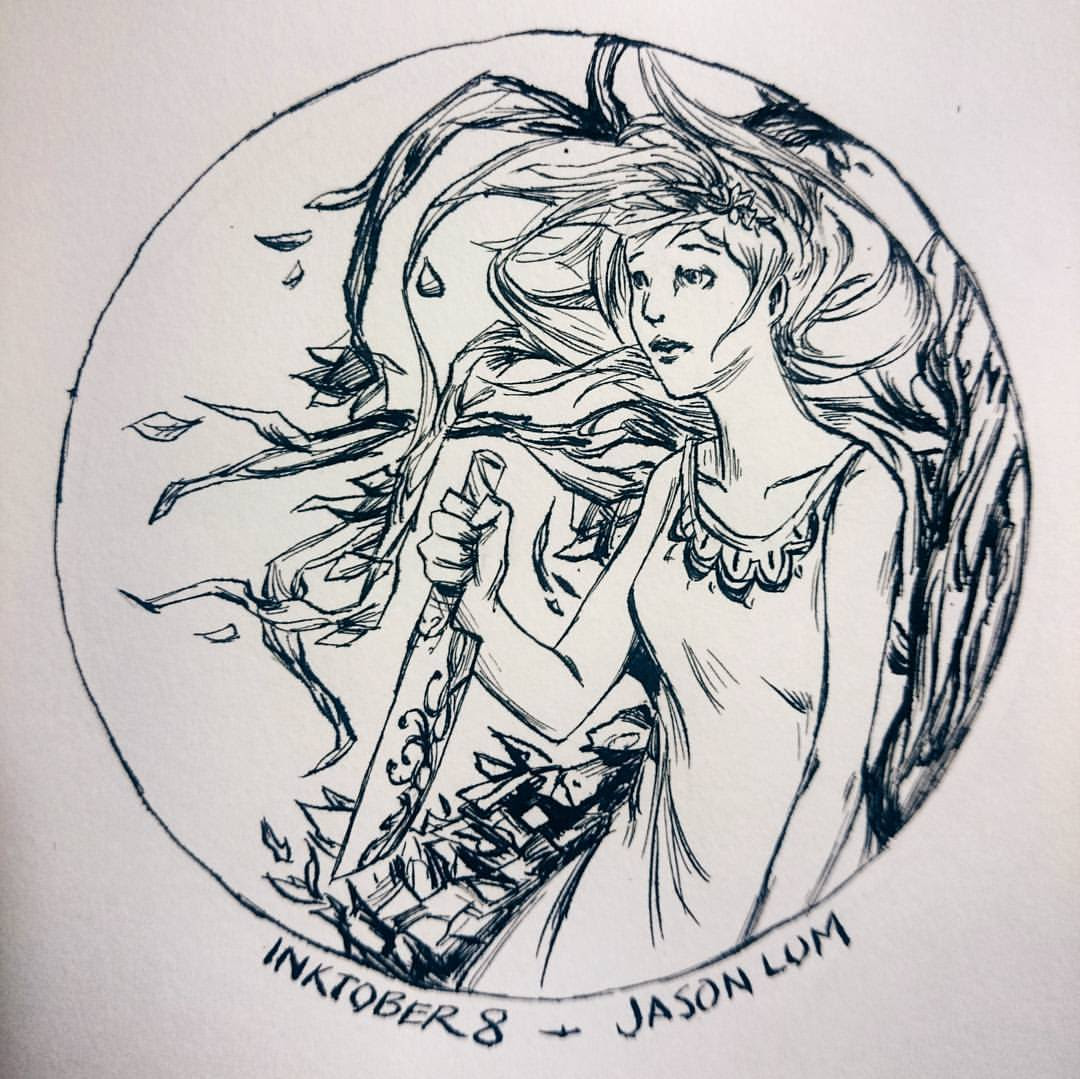 Inktober day 8. Vorpal blade #vorpalblade #aliceinwonderland #alice #knife #inktober #ink #art #artistsoninstagram #drawing #girl #wonderland #illustration #circle