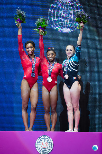 USA Gymnastics: Oct. 29 - Women's All-Around Final &emdash; Gabrielle Douglas, Simone Biles and Larisa Iordache (ROU)