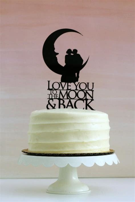 Love You To The Moon And Back   Silhouette Wedding Cake