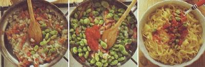 tagliatelle con le fave,tagliatelle,primi piatti,fave,pancetta,peperoncino,
