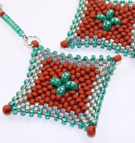 Peyote Stitch Beaded Earrings | Beaded earrings / peyote stitch bead woven by ... | Beadwork