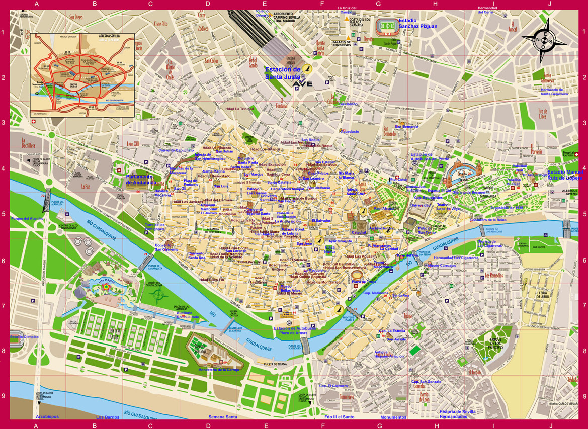 Mapa Callejero De Sevilla.Mapa De Sevilla Centro Mapa