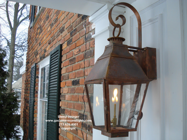 Front Door Gas Lanterns by Sheryl Stringer - traditional - outdoor