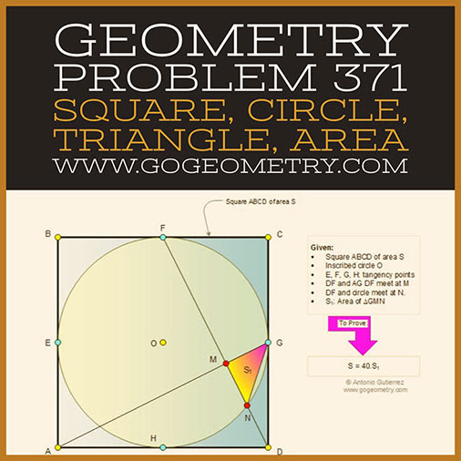 Geometric Art Typography of Geometry Problem 371: Square, Inscribed circle, Triangle, Area, iPad Apps.