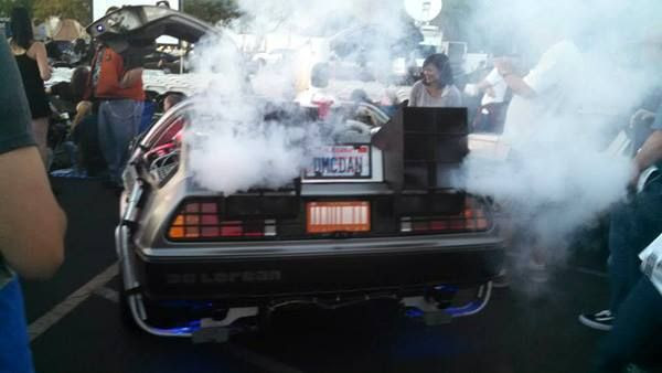 The DeLorean from BACK TO THE FUTURE on display at Puente Hills Mall in the City of Industry...on October 25, 2015.