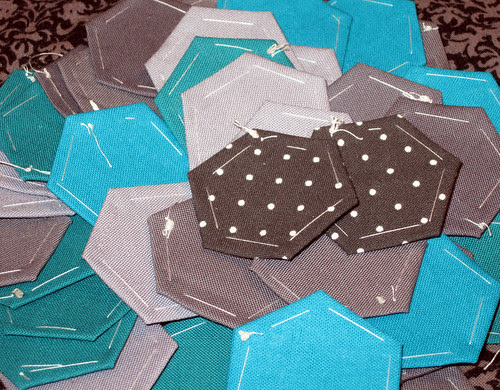 grey and teal hexies