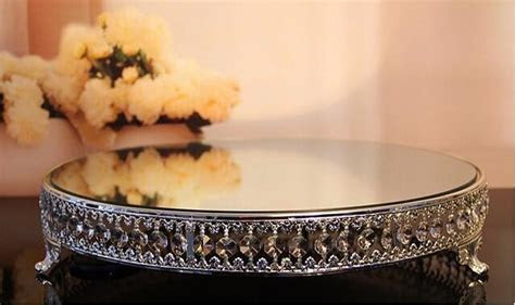 Kingart Large Mirror And Metal Glass Cake Serving Tray