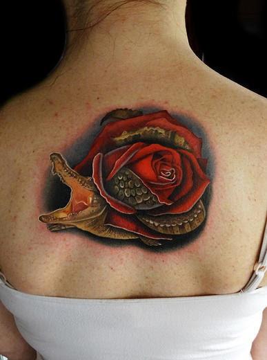 Back Of Neck Allirose Alligator Rose And Alligator Tattoo By Andres
