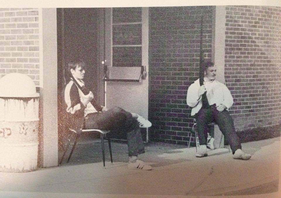 "mountainvagabond: "" ""1973, a student and teacher guarding a Delaware high school after someone called in a shooting threat during a morning class. Juniors, seniors, and teachers went to their cars and trucks to grab their guns, and guard the doors..."