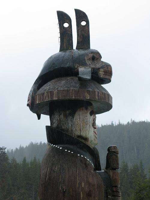 rain on a totem at Cape Fox Lodge, Ketchikan, Alaska