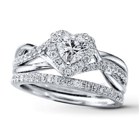 Kay   Diamond Bridal Set 7/8 ct tw Heart shaped 14K White Gold