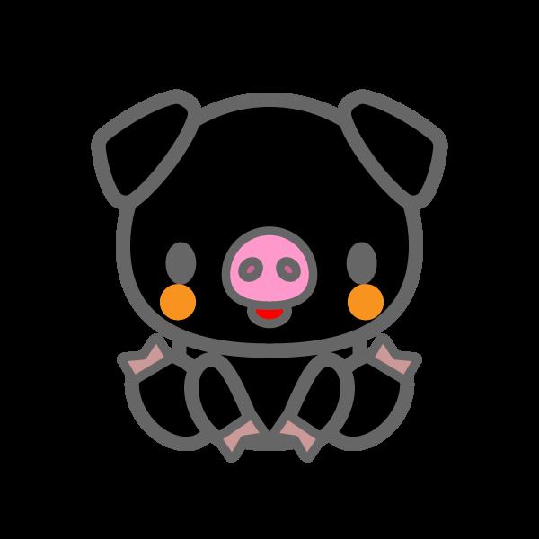 かわいい黒豚の無料イラスト商用フリー オイデ43