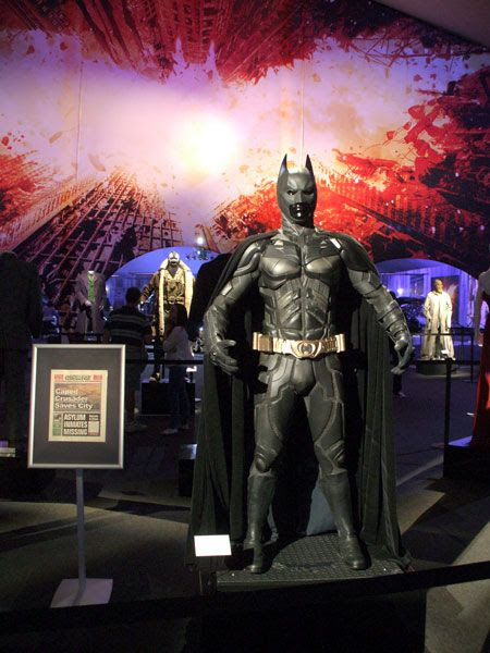 Several costumes from THE DARK KNIGHT Trilogy on display at L.A. Live, on December 7, 2012.
