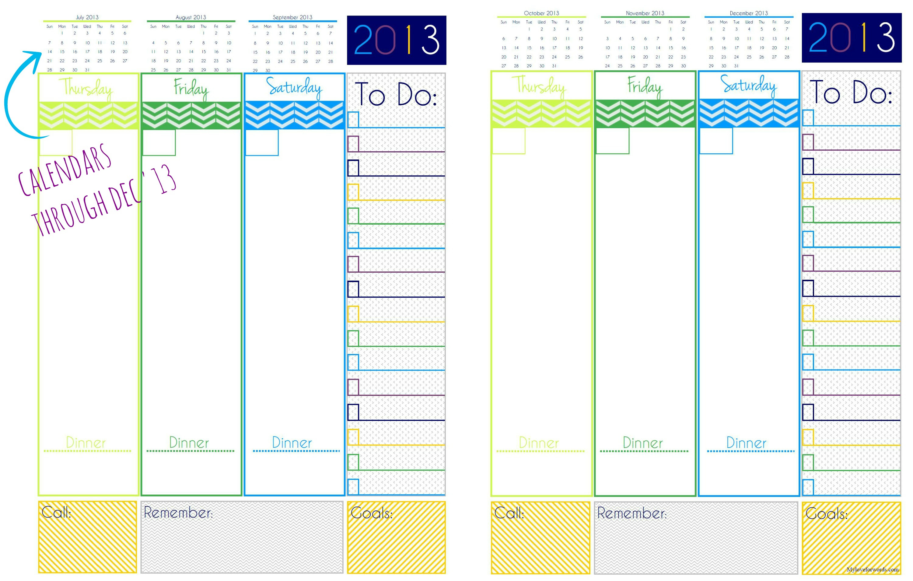 2013 Day Planner {Free Printable}
