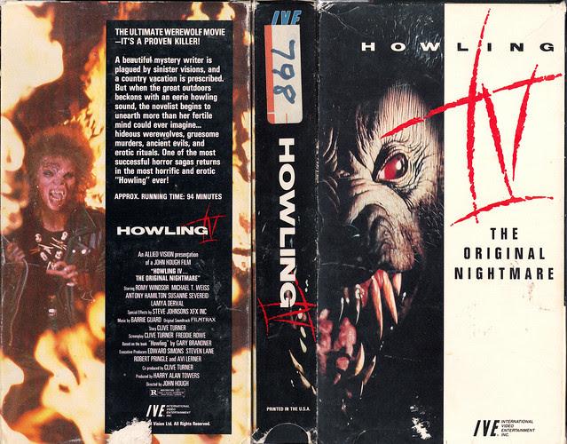 HOWLING IV - THE ORIGINAL NIGHTMARE (VHS Box Art)