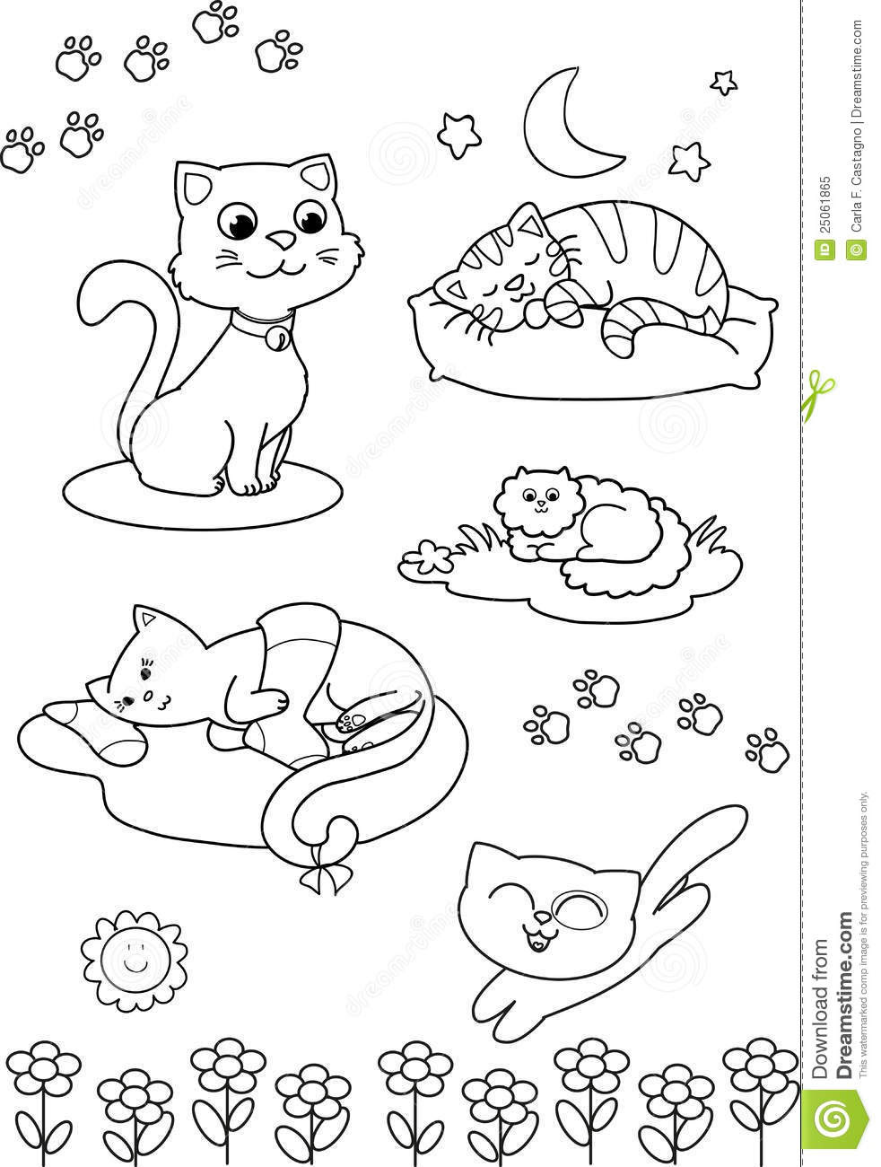 Cute Cartoon Cats: Coloring Page Royalty Free Stock Photo ...