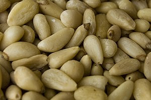 Shelled pine nuts.