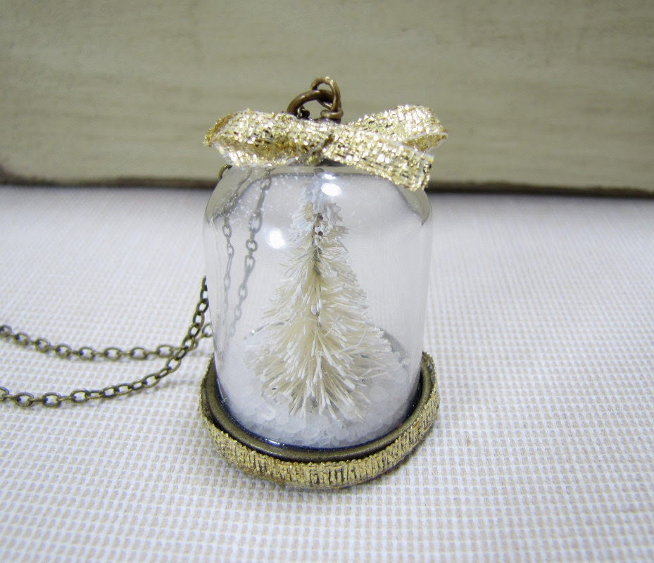 Winter Wonderland Snowy Tree Necklace Glass Dome Pendant Terrarium Jewelry Forest Scene - CuteAbility