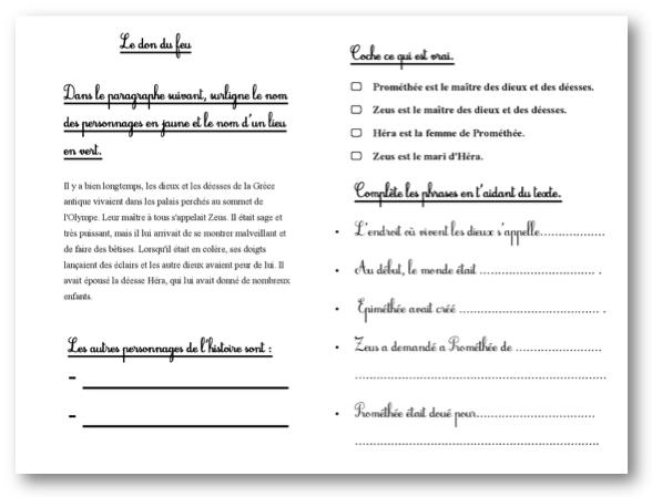 Exercice De Comprehension De Texte A Imprimer Cm1 Texte Prefere