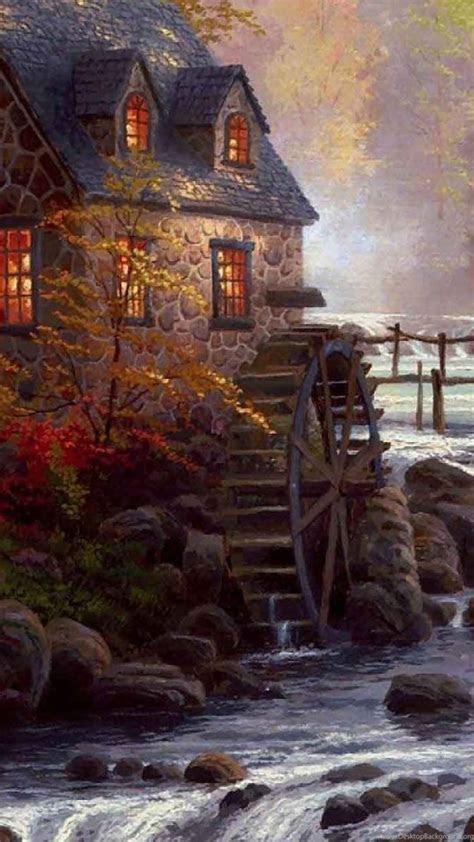 thomas kinkade autumn wallpaper desktop background