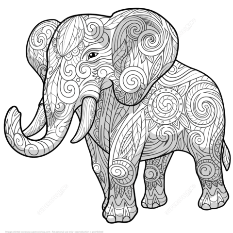 elephant ethnic zentangle coloring page