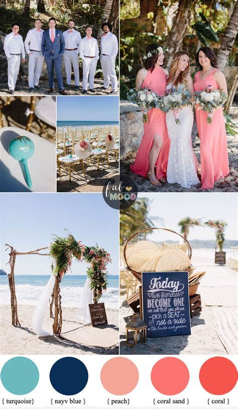 Coral Navy Blue and Turquoise For A Tropical Beach Wedding