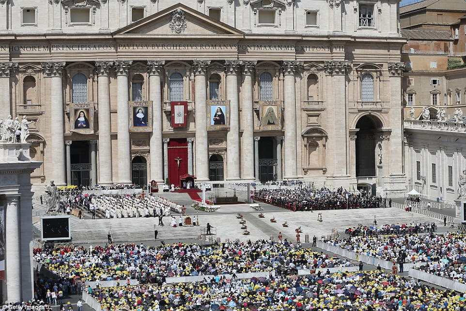 A packed St Peter's square during today's service. Church officials are holding up Bawardy and Ghattas as a sign of hope and encouragement for Christians across the Middle east at a time when violent persecution and discrimination have driven many Christians from the region