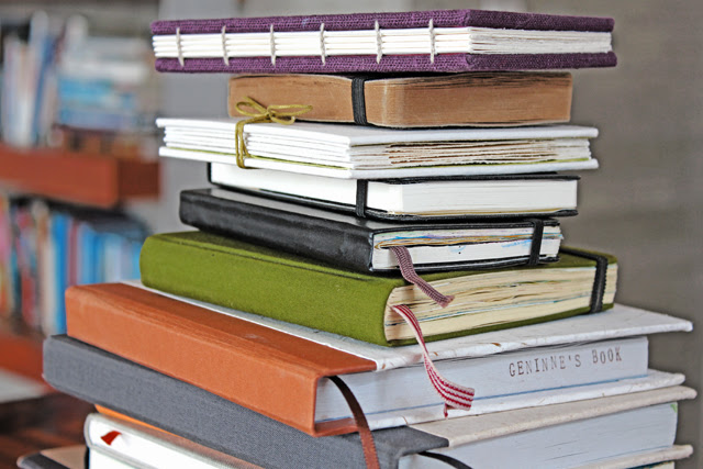 Tower of sketchbooks