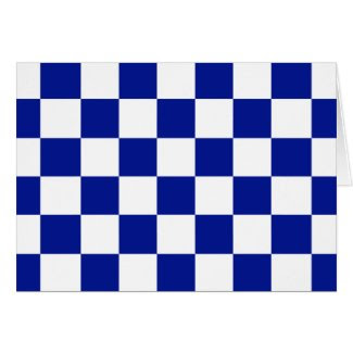 Royal Blue and White Checkered Pattern Greeting Cards