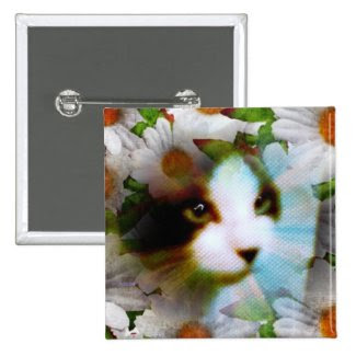 snowshoe canvass kitty 2 inch square button