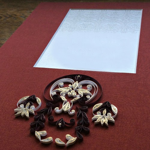 Quilling a Symmetrical Design on a Wedding Invitation Mat