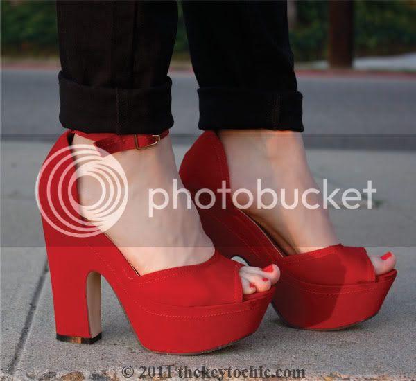 Glaze red platform heels