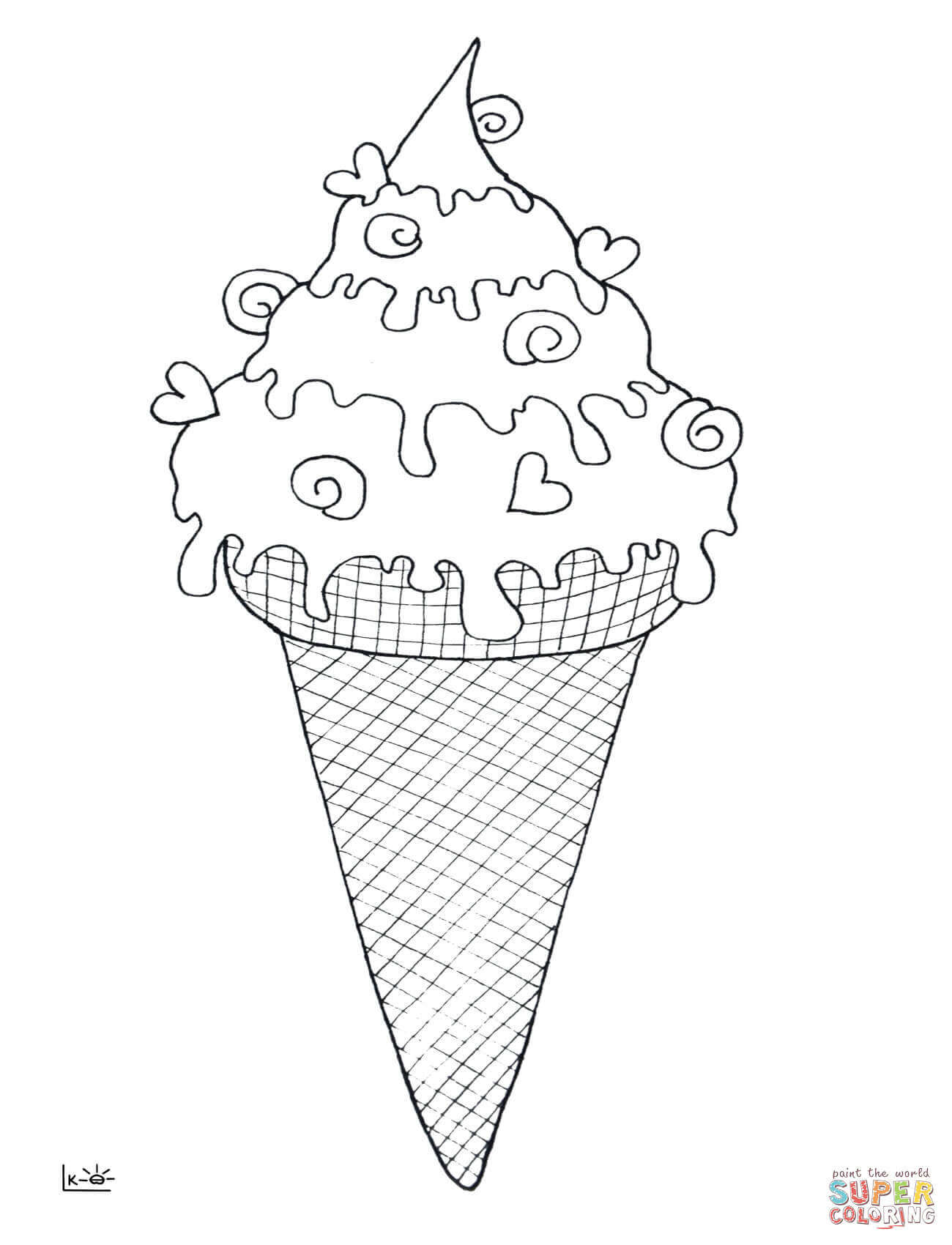 Ice Cream Cone coloring page  Free Printable Coloring Pages